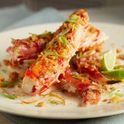 Tropical Coconut Lime Glazed Alaska King Crab With Sweet Panko Thai